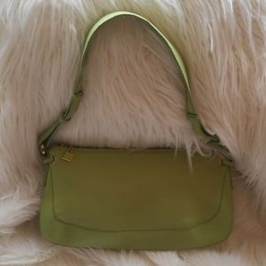 St.John Knits lime green Italian leather purse